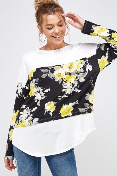 Yellow Floral Color Block Top