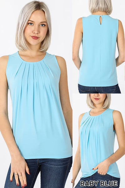 ITY Sleeveless Pleated Neck Top