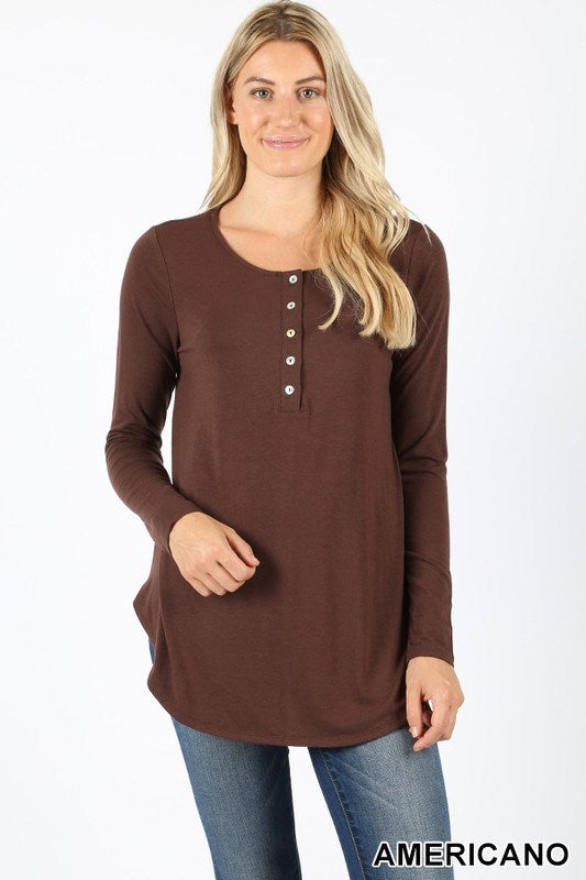 Long Sleeve Dolphin Hem Top