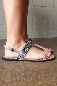 Jeweled Pewter Metallic T-Strap Sandal