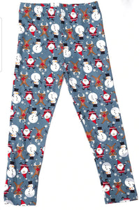 Christmas Santa Reindeer and Snowman Leggings Kids
