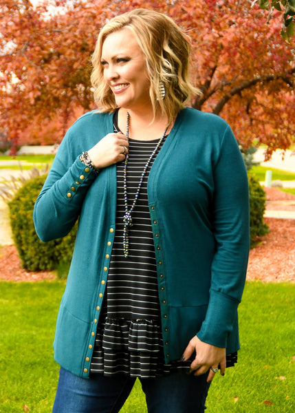 Midnight Teal Snap Cardigan