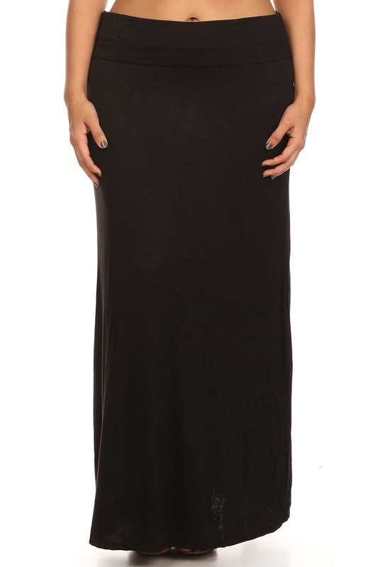 Plus Solid Relaxed Fit Maxi Skirt