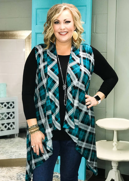 Teal Plaid Long Vest