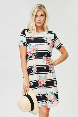 In Bloom Black & Cream Stripe Dress