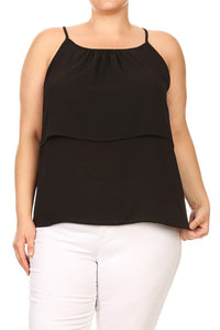 Sleeveless Solid Tiered Top