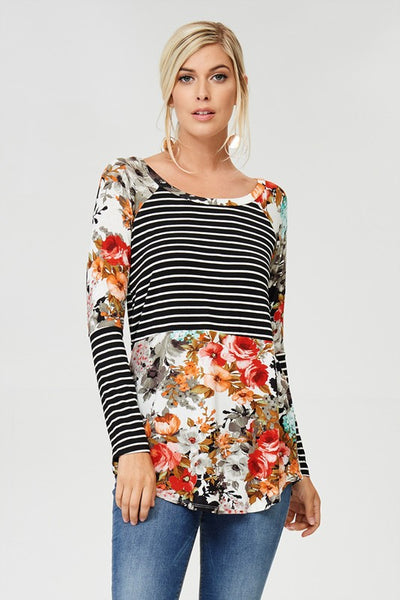 Floral and Stripes Contrast Long Sleeve Top