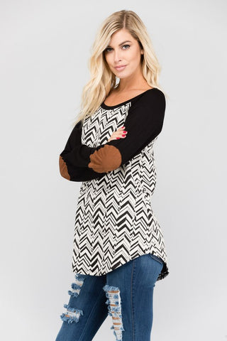 Black & White Patterned Raglan