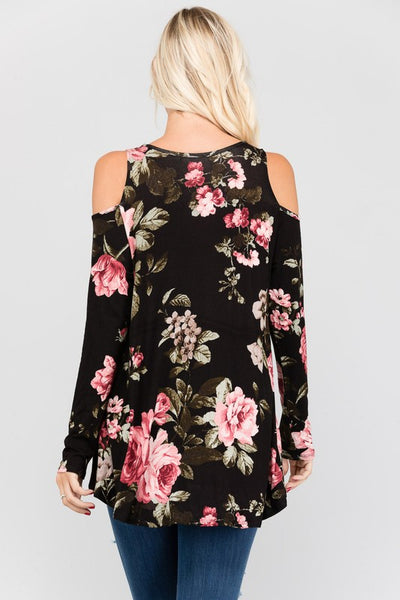 Floral Long Sleeve Cold Shoulder Top
