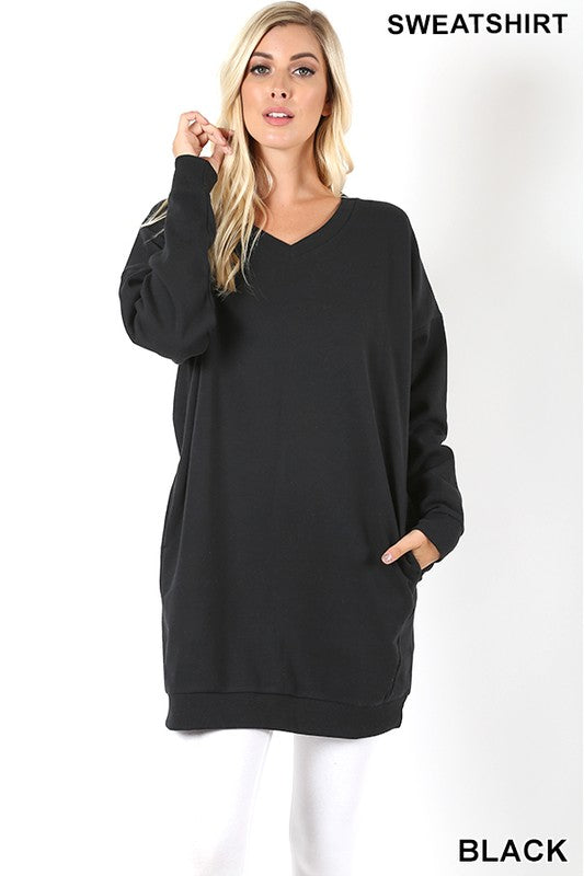 Oversized V-Neck Sweatshirt
