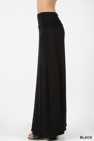 Solid Relaxed Fit Maxi Skirt