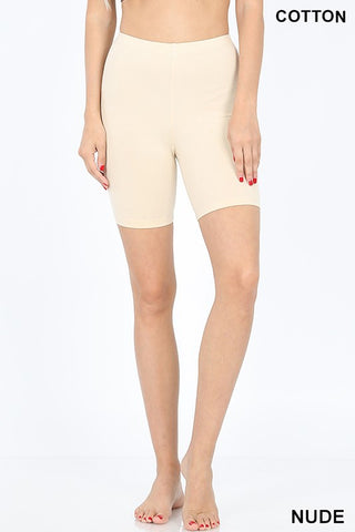 Solid Cotton Biker Shorts