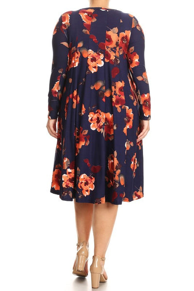 'Autumn' Floral Midi Dress