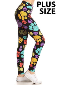 Plus Size Paw Print Leggings