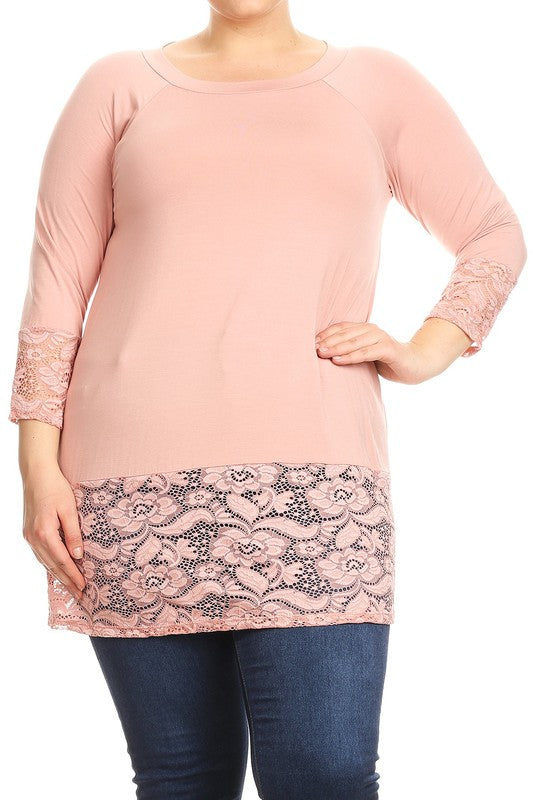 Blush Modal & Lace Tunic