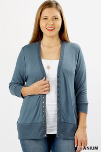 Solid Snap Button Cardigan