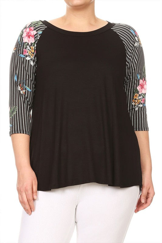 Plus Size Floral Raglan Top