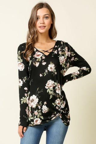 Floral V-Neck Long Sleeve Top