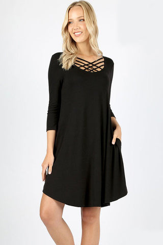 'Raven' Triple Lattice Shift Dress