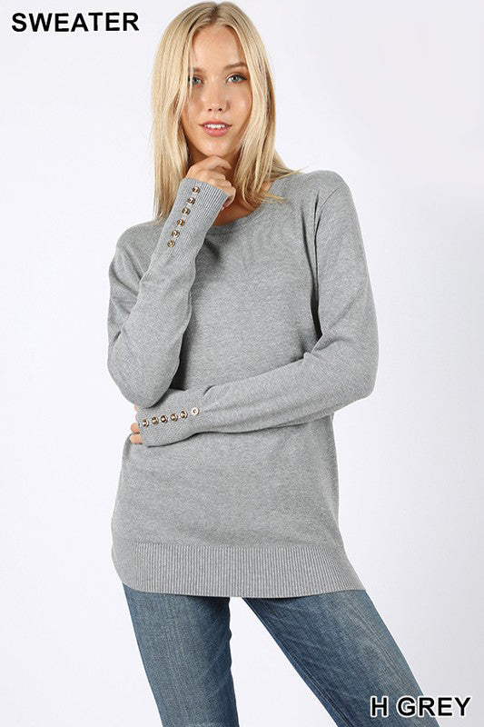 Button Sleeve Round Neck Sweater