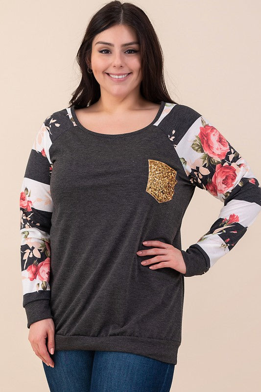 French Terry Floral Stripe Sweatshirt