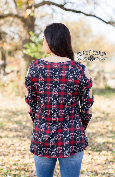 Crazy Train Cowboy Plaid Cut Out