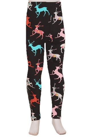 Mixed Print Reindeer Leggings Kids