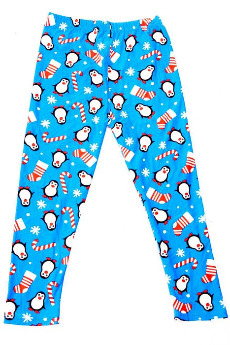 Icy Blue Christmas Penguin Leggings Kids