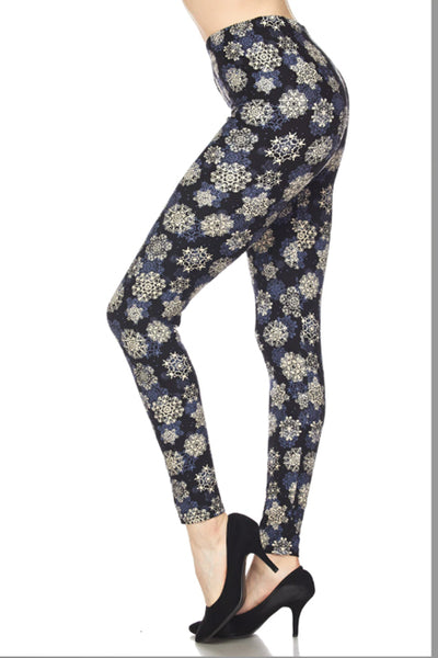 Plus Size Falling Snowflakes Leggings