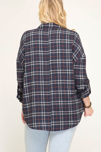 Woven Plaid Print Button Down