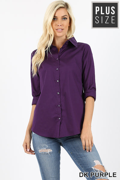 3/4 Sleeve Classic Button Up Top