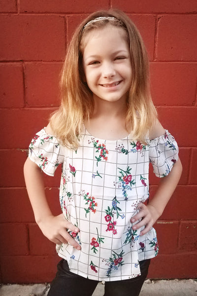 Kid's Plaid Floral Cold Shoulder Top