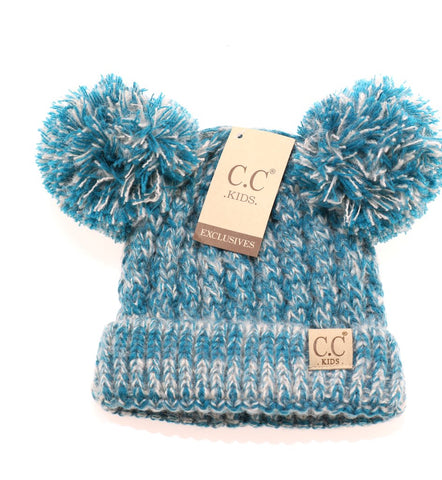 Kids Multi Tone Double Pom CC Beanie