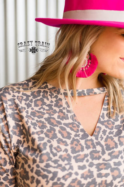 Crazy Train  Laredo Leopard Textline V-Neck Shirt