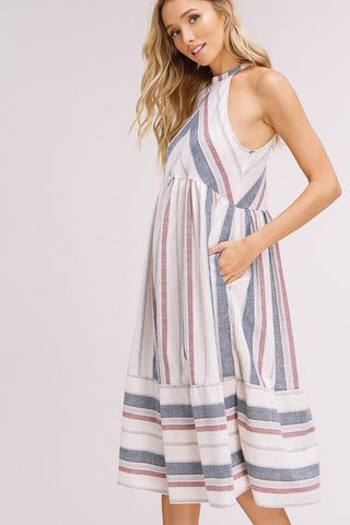 'Luna' Striped Woven Dress