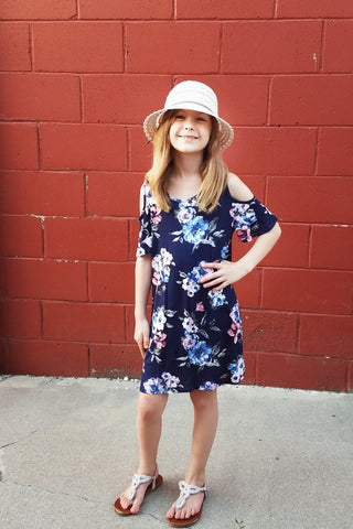 Kid's Navy Floral Cold Shoulder Dress