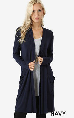 Plus Solid Premium Open Draped Cardigan