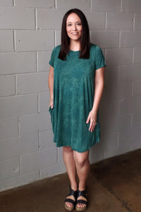 """Emerald"" Caged Back Mineral Washed Knit Dress"