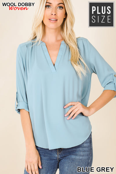 Tab Sleeve Split V-Neck Blouse