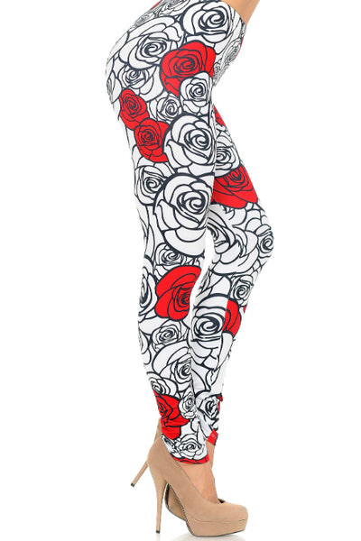 One Size Stencil Roses Leggings