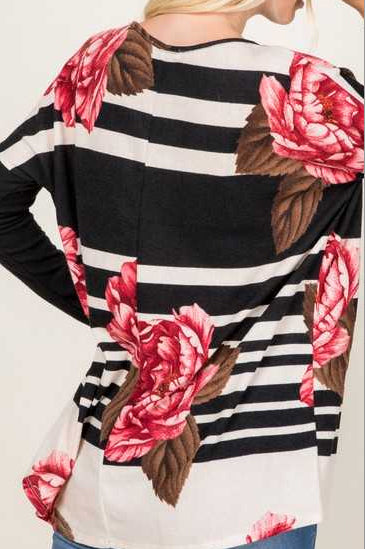 Black & Ivory Floral Sweater