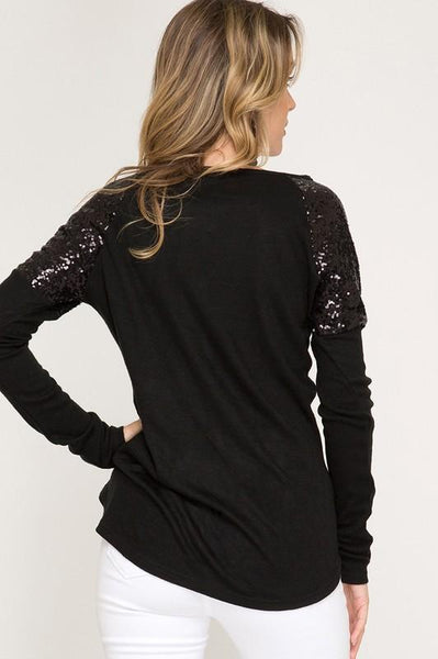 Long Sleeve Hacci Top with Contrast Sequin Shoulders