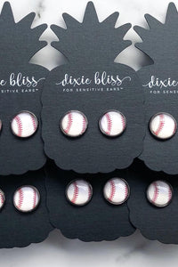 Baseball Photo Glass Earrings