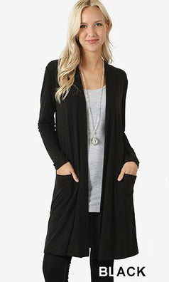 Solid Premium Open Draped Cardigan