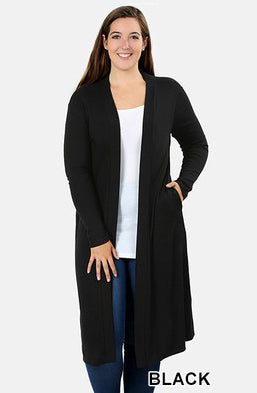 Plus Solid Sweater Duster Cardigan