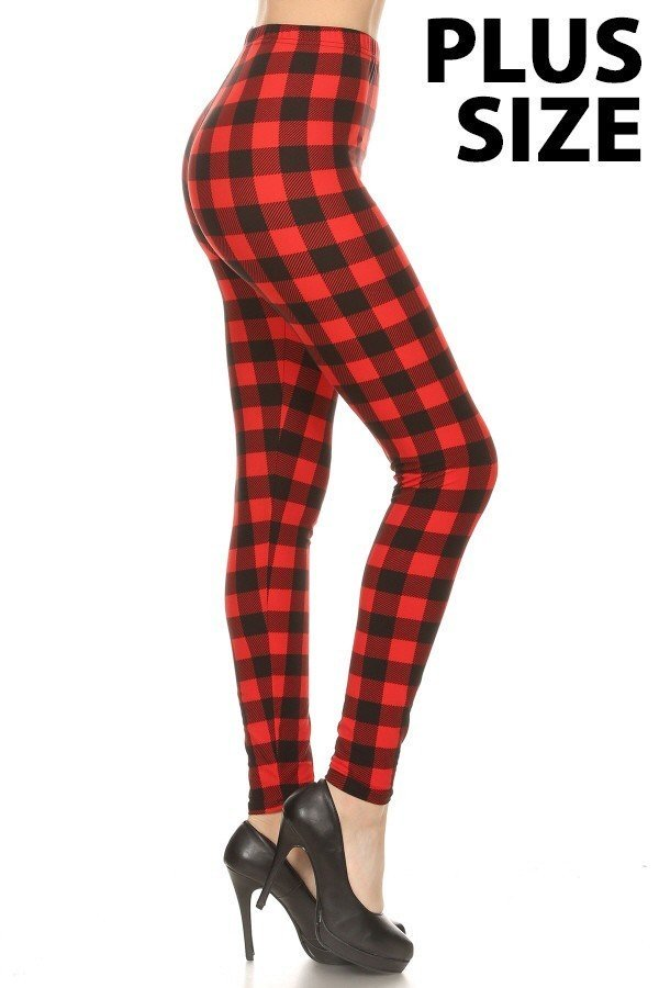 Plus Size Buffalo Plaid Leggings