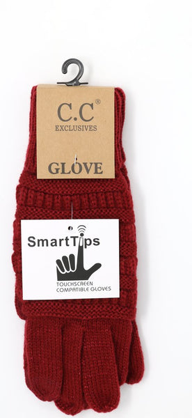 Metallic Cable Knit CC Gloves