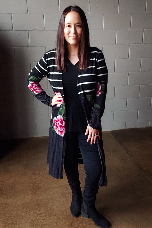 Floral & Stripes Contrast Open Front Cardigan