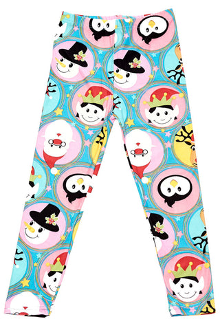 Cute Christmas Faces Leggings Kids