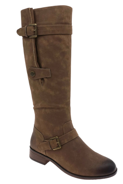 Knee High Taupe Buckle Boot